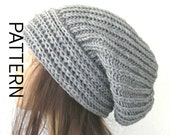 Women Slouchy Instant Download Knit hat pattern  Digital  Hat Knitting PATTERN PDF  Brioche Stitche  hat  Pattern  Slouchy  Hat Knit Pattern