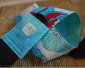 Camera Strap Aqua and Red Floral, Handmade, DSLR, Padded, Lens Cap Pocket / Holder, Reversible