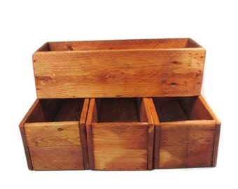 4 Rustic Wedding Centerpiece Boxes for Table Decoration - Wedding Decor