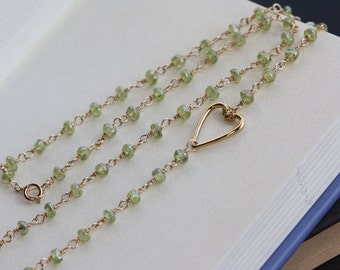 Heart Gold Charm Green Peridot, delicate Necklace, Bridal Jewelry, Jewelry Gifts, Spring Fashion, Valentines Day Hearts Gifts, Spring Green