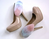 Rainbow Bright wing feather shoe clips blue purple pink