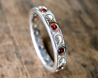 Red Garnet Wedding Ring in Sterling Silver with Scrolls and High Polish Size 6