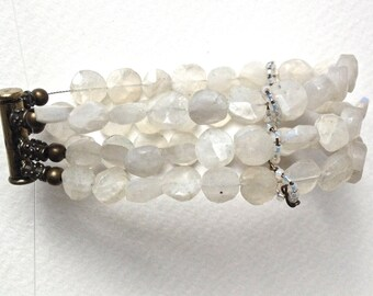 Moonstone Gemstone Multi Strand Bracelet, Moonstone Thick Stacked Cuff Bracelet