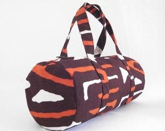 Duffel bag barrel bag brown canvas African print zipped pocket lined handmade