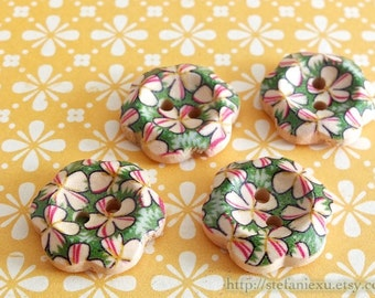 Wooden Buttons, Painted Color - Lovely Retro Green Five Petaled Flowers (4 in a set)