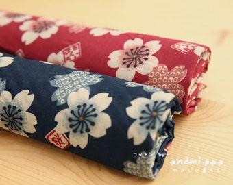 Japanese Traditional Cherry Blossom Sakura Floral, Choose Color-Japanese Kimono Fabric (Fat Quarter)