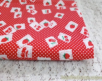 Shabby Chic Red Cherries and Strawberry Fruit Doily On Mini Dots - Cotton Fabric (Fat Quarter)