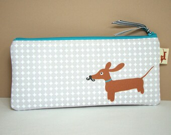 Dachshund Wiener Dog Pencil Case - Doxie in Mustache Disguise Gadget Pouch - Modern Dog Gray Accessory