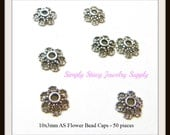 10x3mm Antiqued Silver Pewter Flower Bead Caps- 50 pieces