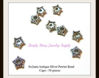 8x2mm Antiqued Silver Pewter Star Bead Caps- 50 pieces