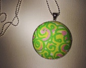 Preppy Lilly Pulitzer Fabric Coverbutton Pendant.