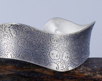 Eco Friendly Sterling Silver Cuff, Eco Friendly Wavy Cuff Bracelet, Etched Cuff