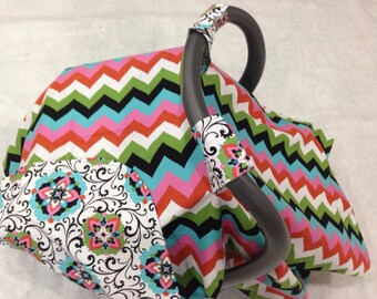 Baby Car Seat Cover Canopy-READY TO SHIP-pink multi chevron baby car seat cover tent