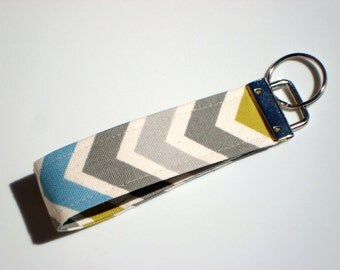 Wristlet Key Fob / Key Chain -Chevron / Summerland Natural