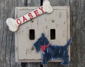 Switch Plate Cover SCOTTIE - Hand Painted Wood