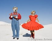 White Sands Two Step, large original photograph of Boxer dogs wearing clothes, playing ukulele and dancing
