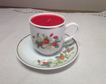 Strawberry Cup and Saucer Candle AVON 1970s Strawberries