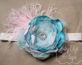 Esme - m2m Well Dressed Wolf Mimi's Attic headband or clip pink aqua lace feathers tulle