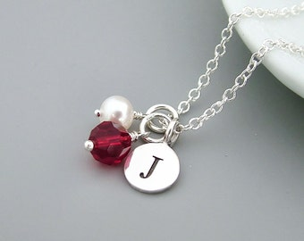 Personalized Birthstone Necklace, Sterling Silver, Custom Birthstone, Ruby Crystal, July birthday, initial jewelry,bridesmaid gift