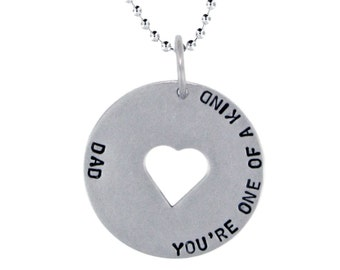 Sterling Silver Window Charm Necklace Custom Cut Out Shape Round Pendant Personalized Dad Jewelry Engraved Artisan Handmade Fine Mom Charm