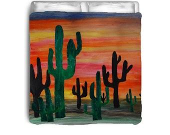 Cactus desert sunset comforter from my art