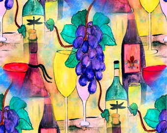 Grape Escape Wine Fabric from my original artwork.