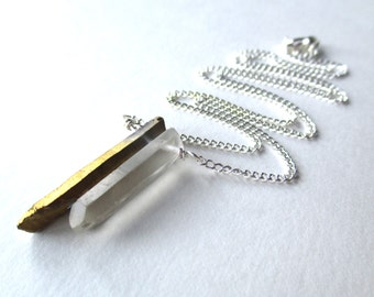 Quartz point necklace, clear and gold aura raw quartz crystal spike pendant on silver chain