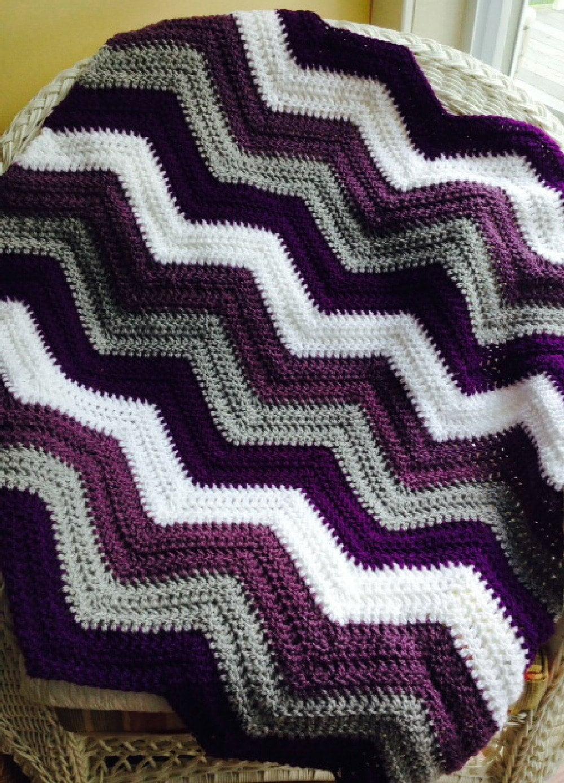 New Chevron Zig Zag Ripple Baby Blanket Afghan Wrap Crochet
