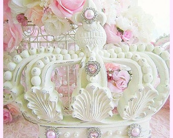 Shabby chic bed crown canopy set crown wall decor crown hooks for Couronne shabby chic