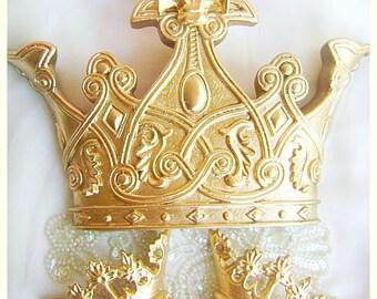 Ornate Gold Fleur De Lis Bed Crown Canopy Set Prince Princess Decor Color Choices Baby