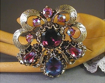Shades of Purple Vintage Rhinestone Brooch