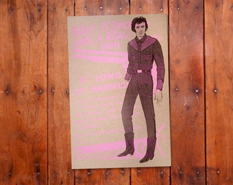 Saturday Night Special - Brown and Pink Retro Fashion Screenprint on Heavy Kraft Paper