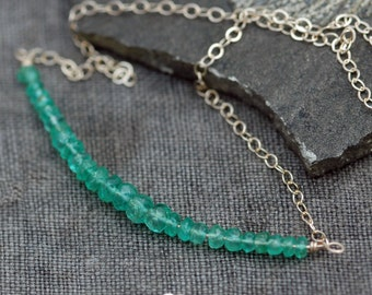 Green Emeralds and Solid 14k Yellow Gold Birthstone Necklace