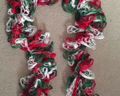 46 inch, Green and Red and White Holiday colors Lacy Scarf, New, Hand Crocheted, in USA