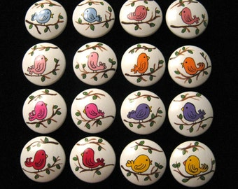 SET OF 16 BIRDIES Hand Painted Wooden Knobs Pulls - Assorted Colors