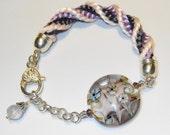 ValVaaniaLampwork Glass Bead Handmade Bracelet KUMIHIMO Braid Lilac Pruple Pink