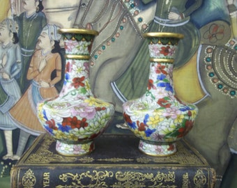 SALE - Vintage China Hand Painted Enamel Cloisonne Vases from Rustysecrets
