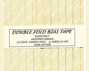 """Double Fold Bias Tape -Vanilla and White Stripe """"Essentials"""" from Andover"""