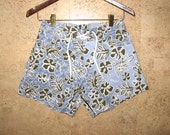 Hawaiian Board Shorts for Her Tear Away Style 1970s NOS 28 waist Tropical Blue Olive Brown