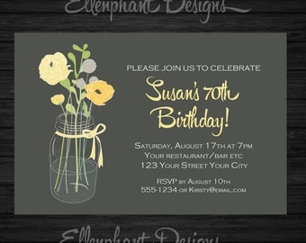 Yellow and gray floral Birthday Invitation, suits women, adult, 40th ...