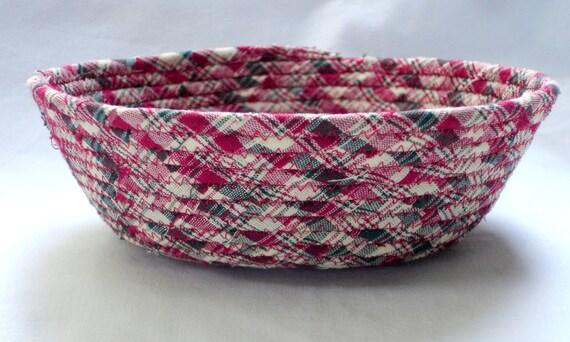 Coiled Fabric Bowl Sale Mini Red Plaid