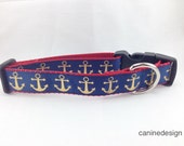 Dog Collar, Gold Anchors Blue, 1 inch wide, adjustable, quick release, metal buckle, chain, martingale, hybrid, nylon