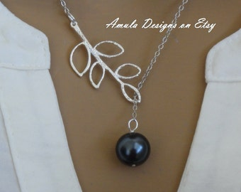Charcoal Gray Pearl Lariat Necklace