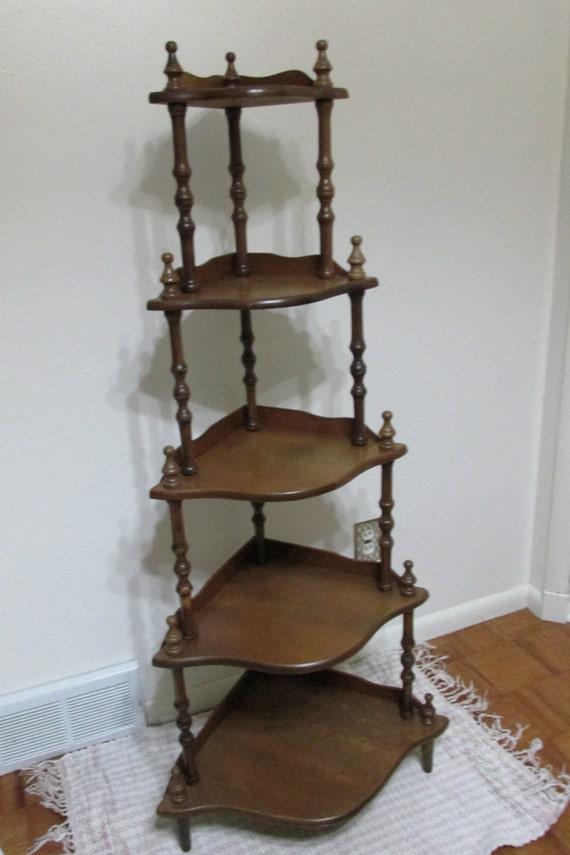 Corner Shelf Vintage Wood 5 Tier Stand Assemble By Luruuniques