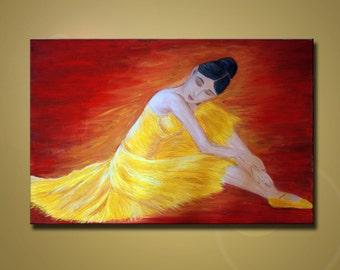 "Figure Painting. ""Resting Ballerina"". Modern palette knife textured painting. Dance, ballet, tutu dress painting. Free Shipping inside US."