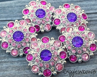 NEW Set of 5 LIMITED EDITION Purple/ Bright Pink/ Shocking Pink Acrylic Rhinestone Buttons 27mm