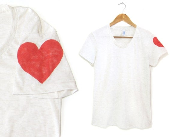 Heart on My Sleeve Tee - Girly Fit Crew Short Sleeve Neck Tshirt in Heather Oatmeal and Red - Women's Size S-2XL