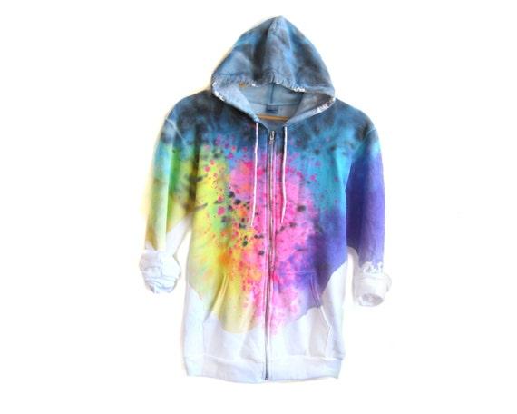 "Spectrum Rainbow Hoodie - Original ""Splash Dyed"" Hand Painted Fleece Pocket Zip Sweatshirt in White - Women's Size XS-3XL"