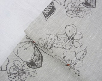 Areco design grey- Linen by the yard- hand printed- Free Shipping to USA