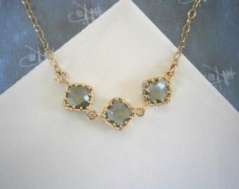 Grey Necklace, Bridesmaid Necklace, Gray Necklace, Delicate Necklace, Gold Bracelet, Best Friend, Birthday, Gold Necklace, Valentine